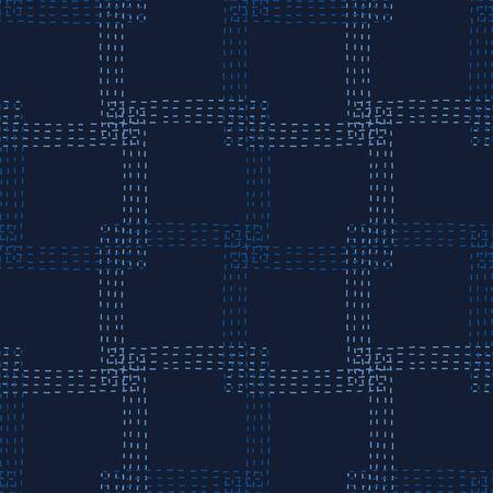 Embroidery Boro Patch Kantha Vector Pattern. Asian Needlework Seamless Background Indigo Blue Style. Sashiko Running Hand Stitch Texture Textile Print. Japan Decor. Masculine .