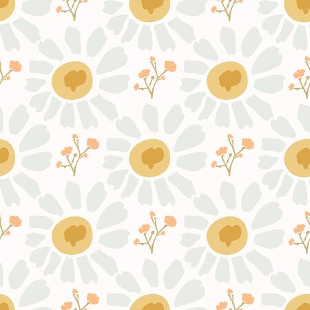 Naive Lawn Daisy Wildflower Motif Background. Naive Margerite Flower Seamless Pattern on White. Delicate Leaves Hand Drawn Textile. Spring and Summer Meadow Repeat Illustration. Archivio Fotografico - 140188843