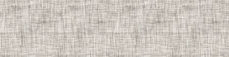 Natural Gray French Linen Texture Border Background. Old Ecru Flax Fibre Seamless Pattern. Organic Yarn Close Up Weave Fabric Ribbon Trim Banner. Sack Cloth Packaging, Canvas Edging.