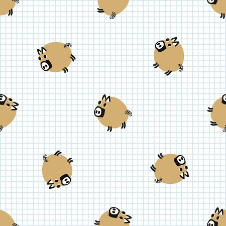 Kawaii doodle pig seamless vector pattern. Hand drawn fat farm hog on check background. Pork livestock cute home decor. Kids, boar, swine, mammal, naive.