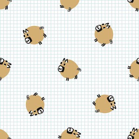 Kawaii doodle pig seamless vector pattern. Hand drawn fat farm hog on check background. Pork livestock cute home decor. Kids, boar, swine, mammal, naive.