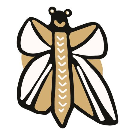 Kawaii doodle butterfly clipart. Hand drawn naive monarch insect. Wildlife ecology flying bug cute illustration in flat color. Isolated lepidoptera, flying, kids, children, nature. Archivio Fotografico - 140188892