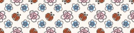 Modern Doodle Daisy Seamless Border Pattern. Hand Drawn Scribble Flower Repeat . Dot Blossom Background. Organic Vintage Summer Textile Edge, Packaging Banner Ribbon Trim. Cute Washi.