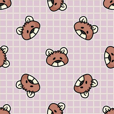Cute stuffed sewn teddy bear plush head seamless vector pattern. Hand drawn kids soft toy on gingham background. Cuddly fluffy animal home decor. Love, child, cub. Illusztráció