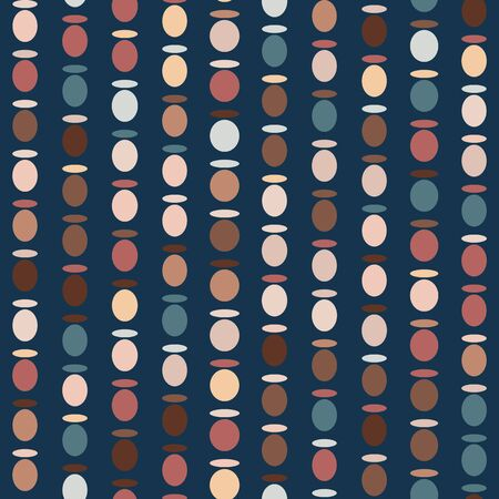 Abstract Bead Circle Texture. Vector Pattern Seamless Background. Vertical Broken Oval Polka Dot Stripes . For Trendy Masculine Shirting, Retro Home Decor, Wallpaper.