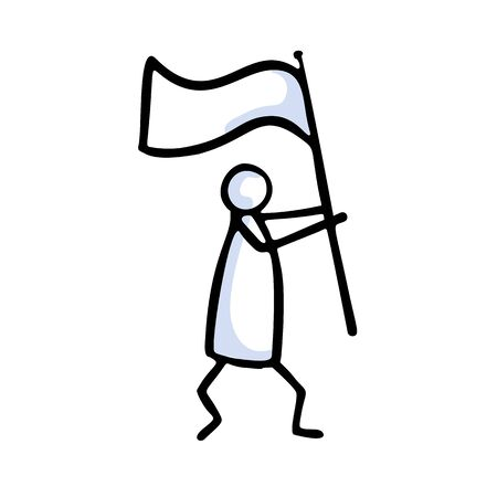 Stick Figure Person Waving Flag. Hand Drawn Isolated Human Doodle Icon Motif. Clip Art Element. Black White Flat Color. Message, Protest Victory, Activist or Campaign Concept. Pictogram Vector. Ilustração