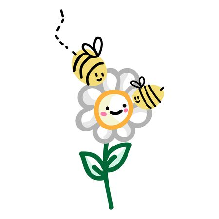 Cute simple stylized bee doodle clipart. Hand drawn flying insect wildlife nature. Flat color daisy flower bloom illustration. Isolated comb, busy bee, bug.