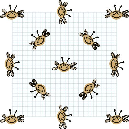 Kawaii doodle honey bee seamless vector pattern. Hand drawn naive pollinator insect background. Antenna wildlife beekeeping cute home decor. Honeycomb, pollen, nature.
