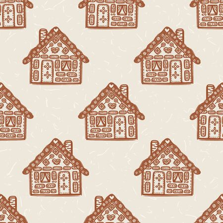 Homespun Gingerbread House with Decorated Icing Pattern. Seamless Background in Warm Ecru Brown with Falling Snow Texture. For Christmas Backdrop, Isolated Vector Repeat.