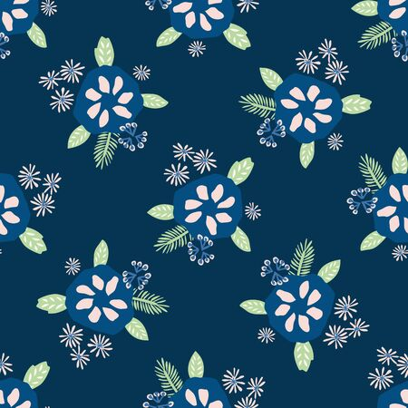 Classic Blue Daisy Floral Posy Motif Background. Naive Margerite Flower Seamless Pattern. Ditsy Elegant Navy Bloom on Dark Midnight with Leaf. Hand Drawn Textile. Repeat IllustrationVector. Çizim