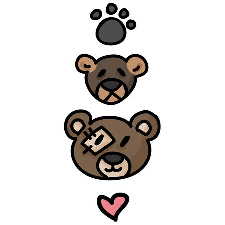 Cute stuffed teddy bear plush clipart. Hand made kids soft toy. Fun hand drawn cuddly fluffy animal doodle in flat color. Isolated love, child, cub. Heart and paw Vector.