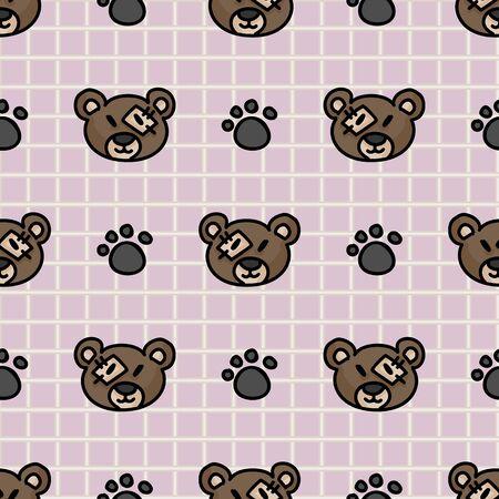 Cute stuffed brown teddy bear plush with paw pad seamless vector pattern. Hand drawn kids soft toy on striped background. Cuddly fluffy animal home decor. Joy, child, cub. Illusztráció