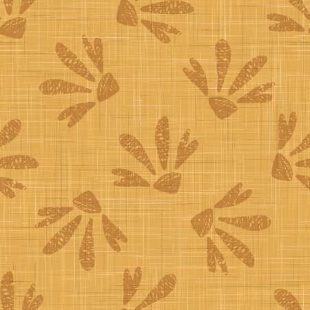 Gold French Linen Texture Background printed with Brown Daisy Flowers. Natural Dye Ecru Flax Fibre Seamless Pattern. Organic Close Up Weave Fabric for Wallpaper, Cloth Packaging.
