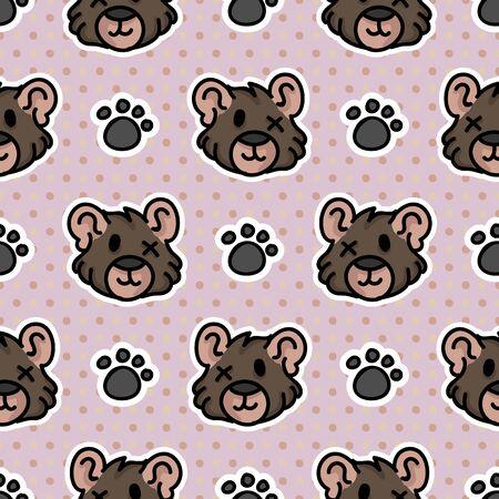 Cute teddy bear worn plush with paw pad seamless vector pattern. Hand drawn kids soft toy on striped background. Kawaii cuddly fluffy animal home decor. Joy, child, cub.