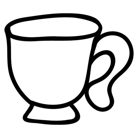 Cute afternoon tea tea cup clipart. Hand drawn breakfast drink kitchenware. Porcelain domestic crockery lineart in flat color. Monochrome isolated beverage, hot drink, british.