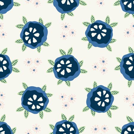 Classic Blue Daisy Floral Posy Motif Background. Naive Blossom Flower Seamless Pattern. Ditsy Elegant Navy Bloom on Cream Beige with Leaf. Hand Drawn Textile. Repeat Illustration Vector .