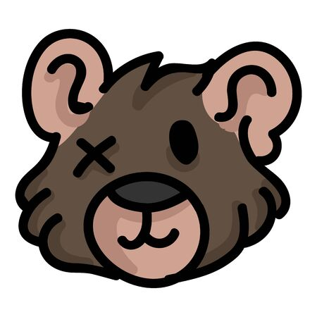 Cute worn teddy bear plush head clipart. Hand made kids soft toy. Fun hand drawn cuddly fluffy animal doodle in flat color. Isolated love, child, cub.