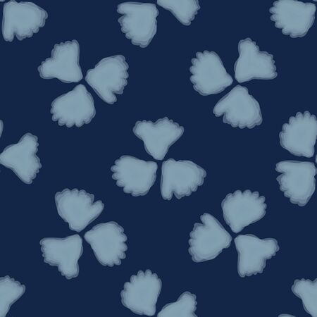 Shibori Background.Tie Dye Indigo Blue Flower Texture. Bleached Handmade Resist Seamless Pattern. Watercolor Dy Effect Textile. Classic Japanese or Indonesian All Over Print. Vector.