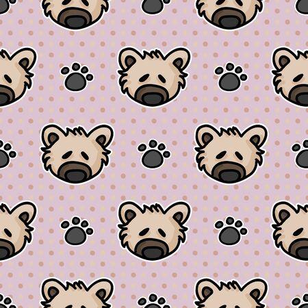 Cute stuffed teddy bear plush with paw pad seamless vector pattern. Hand drawn kids soft toy on striped background. Kawaii cuddly fluffy animal home decor. Joy, child, cub. Stock fotó - 140189425