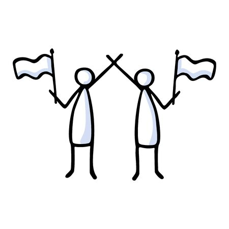Two Stick Figure People Waving Flag. Hand Drawn Isolated Human Doodle Icon Motif. Clip Art Element. Black White Flat Color. Message, Protest Victory, Activist Campaign Concept. Pictogram.