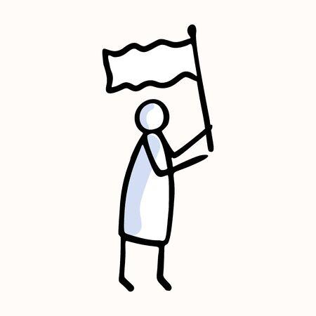 Stick Figure Person Waving Flag. Hand Drawn Isolated Human Doodle Icon Motif. Clip Art Element. Black White Flat Color. Message, Protest Victory, Activist or Campaign Concept. Pictogram.. Ilustração