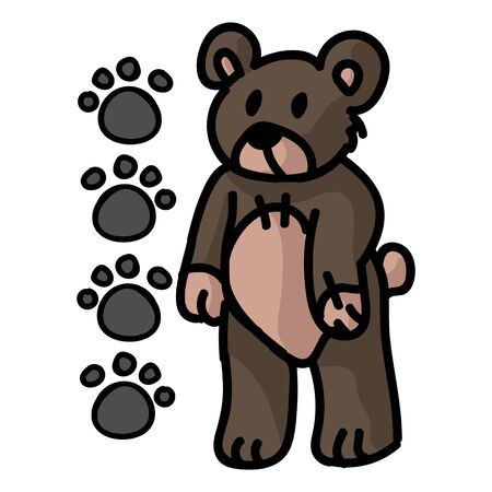 Cute stylized teddy bear plush clipart. Hand made kids soft toy. Fun hand drawn cuddly fluffy animal doodle in flat color. Isolated love, child, cub. Stock fotó - 140189680