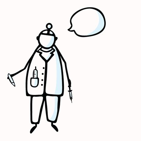 Hand Drawn Stick Figure Doctor or Surgeon & Speech Bubble, Injection. Concept Health Care Medical Hospital. Cartoon Icon Motif for Surgery Treatment, Physician Clip art Illustration.