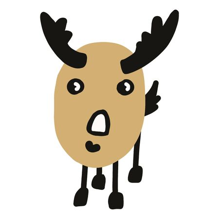 Kawaii doodle antlered deer clipart. Hand drawn naive game animal. Stag with horns cute illustration in flat color. Isolated horn, antler, hunt, season, whitetail.