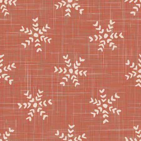 Red French Linen Texture Background printed with White Winter Snowflakes. Natural Ecru Fibre Christmas Seamless Pattern. Organic Close Up Weave Fabric for Festive Packaging. Ilustração