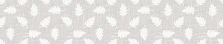 Gray French Linen Texture Border Background printed with White Falling Leaves. Natural Unbleached Ecru Flax Fibre Seamless Pattern. Organic Close Up Weave Fabric Banner. Cloth Packaging,