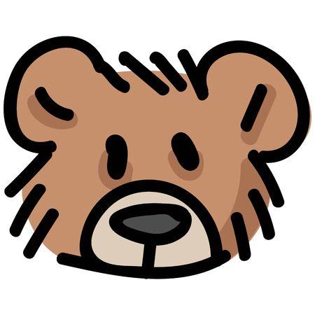 Cute stuffed teddy bear plush head clipart. Hand made kids soft toy. Fun hand drawn cuddly fluffy animal doodle in flat color. Isolated love, child, cub. Illusztráció
