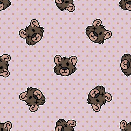 Cute stuffed one eyed teddy bear plush head seamless vector pattern. Hand drawn kids soft toy on polka dot background. Cuddly fluffy animal home decor. Love, child, cub. Illusztráció