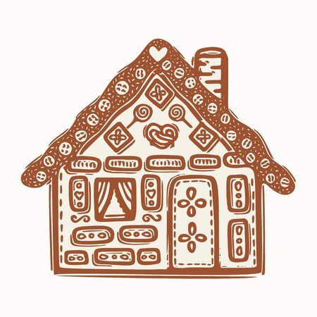 Homespun Naive Christmas Gingerbread House with Candy Clip Art . Icon Motif for Festive Holidays Symbol. Hand Drawn Winter Cartoon Fun.