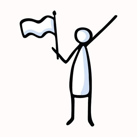 Stick Figure Person Waving Flag. Hand Drawn Isolated Human Doodle Icon Motif. Clip Art Element. Black White Flat Color. Message, Protest Victory, Activist or Campaign Concept. Pictogram Vector.