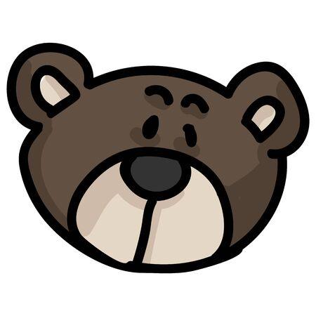 Cute stylized teddy bear head button plush clipart. Hand made kids soft toy. Fun hand drawn cuddly fluffy animal doodle in flat color. Isolated love, child, cub. Illusztráció