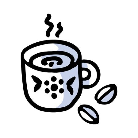Cute afternoon cup of coffee clipart. Hand drawn breakfast drink kitchenware. Porcelain domestic crockery lineart in flat color. Monochrome isolated beverage, hot drink, british. Ilustração