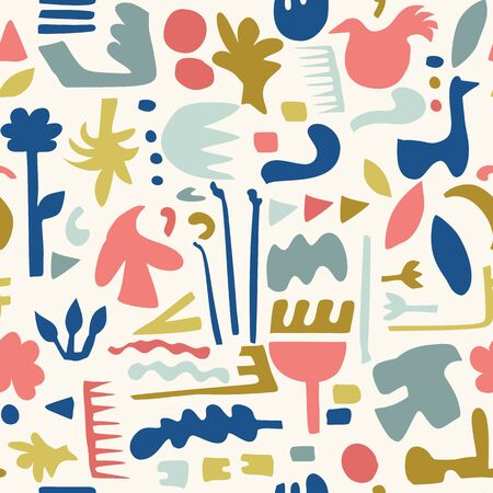 Abstract Cut Out Shapes, Vector Pattern Seamless Background, Hand Drawn Matisse Style Collage Graphic Illustration for Trendy Home Decor, Modern Fashion Prints, Kids Wallpaper All Over Print. Archivio Fotografico - 140189965