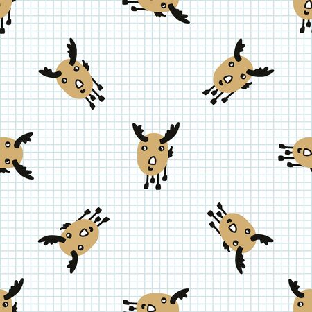 Kawaii doodle antlered deer seamless vector pattern. Hand drawn naive game animal background. Stag with horns cute home decor. Horn, antler, hunt, season, whitetail.