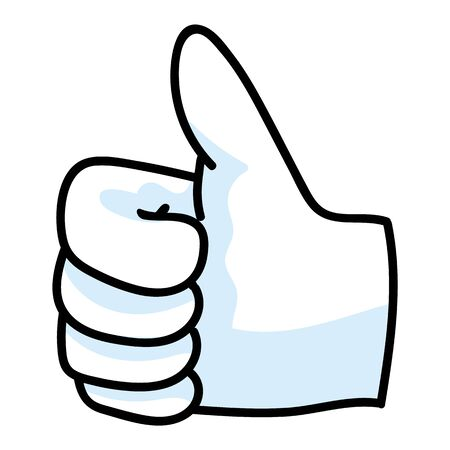 Cute thumbs up hand symbol cartoon doodle clip art. Hand drawn expression gesture for simple stylized sign. Flat color hand gesture. Isolated direction, approval, false illustration.