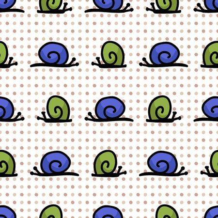 Cute simply stylized snail seamless vector pattern. Hand drawn mollusk insect on polka dot background. Garden pest home decor. Blue, green, spiral, nature, bug.
