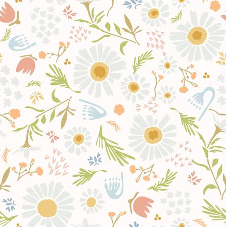 Chamomile Lawn Daisy Wildflower Motif Background. Naive Margerite Flower Seamless Pattern on White. Delicate Leaves Hand Drawn Textile. Spring and Summer Meadow Repeat Illustration.