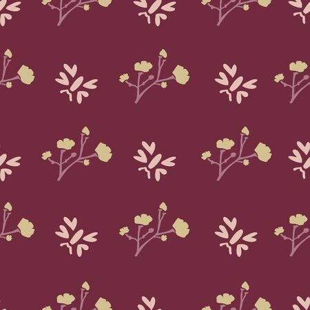Winter Flower Daisy Motif on Dark Red Background. Naive Ditsies Floral Petal Marguarite . Seamless Pattern with Delicate Gypsophila Stem. Hand Drawn Vintage Tile Repeat Illustration.