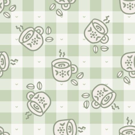 Cute stylized afternoon teacup seamless vector pattern. Hand drawn green gingham domestic ceramic kettle background. Hot drink kitchenware home decor. British crockery.
