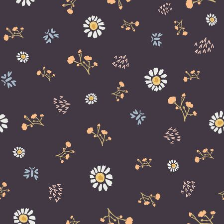 Winter Flower Daisy Motif on Dark Brown Background. Naive Ditsies Floral Petal Marguarite . Seamless Pattern with Delicate Gypsophila Stem. Hand Drawn Textile Tile Repeat Illustration. Çizim