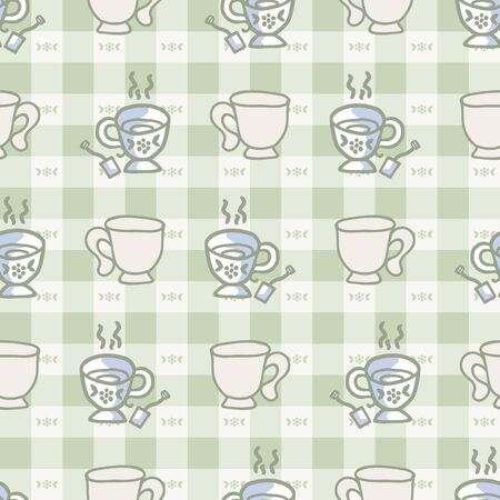 Cute two stylized afternoon teacup seamless vector pattern. Hand drawn green gingham domestic ceramic kettle background. Hot drink kitchenware home decor. British crockery.