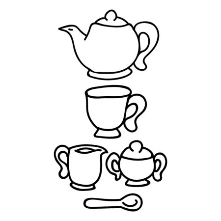 Cute afternoon tea set, teacup, teapot, clipart. Hand drawn breakfast drink kitchenware. Porcelain domestic crockery lineart in flat color. Monochrome isolated sugar pot, jug, hot.