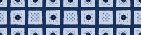 Embroidery Border Boro Fabric Circle. Sashiko Kantha Vector Pattern. Needlework Seamless Banner Edging. Indigo Blue Running Hand Stitch Texture Trim. Wabi Sabi Textile Japan Decor. Washi Tape.