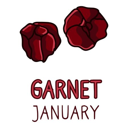 Birth Stone for January Clip Art. Garnet Crystal Mystic Order Precious Rock for Birthday date. Red Treasure.Illustration Doodle in Flat Color. isolated Typography. Ilustração
