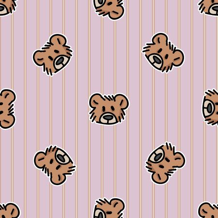 Cute stuffed simple teddy bear plush head seamless vector pattern. Hand drawn kids soft toy on striped background. Cuddly fluffy animal home decor. Love, child, cub.