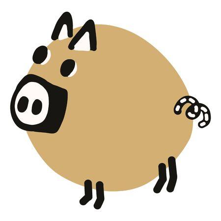 Kawaii doodle pig clipart. Hand drawn fat farm hog. Pork livestock cute illustration in flat color. Isolated kids, boar, swine, mammal.